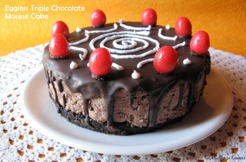 Eggless Triple Chocolate Mousse Cake 1