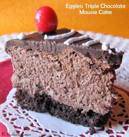 Eggless Triple Chocolate Mousse Cake 3
